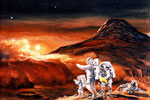 Artist's conception of astronauts on Mars