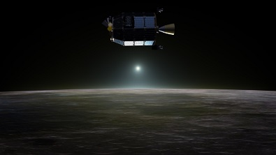 Artist�s concept of NASA's Lunar Atmosphere and Dust Environment Explorer in orbit above the moon as dust scatters light during the lunar sunset. Image Credit: NASA Ames/Dana Berry