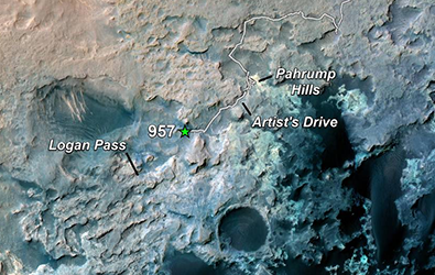 Map with Curiosity's location