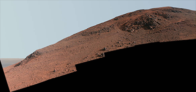 Scene from NASA's Mars Exploration Rover Opportunity looks upward at